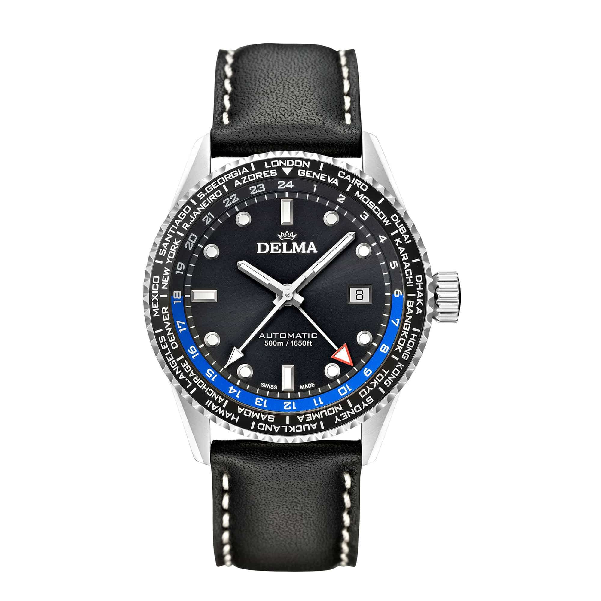 Delma Cayman Worldtimer Automatic Leather Strap 41601.710.6.031 – Swiss Time