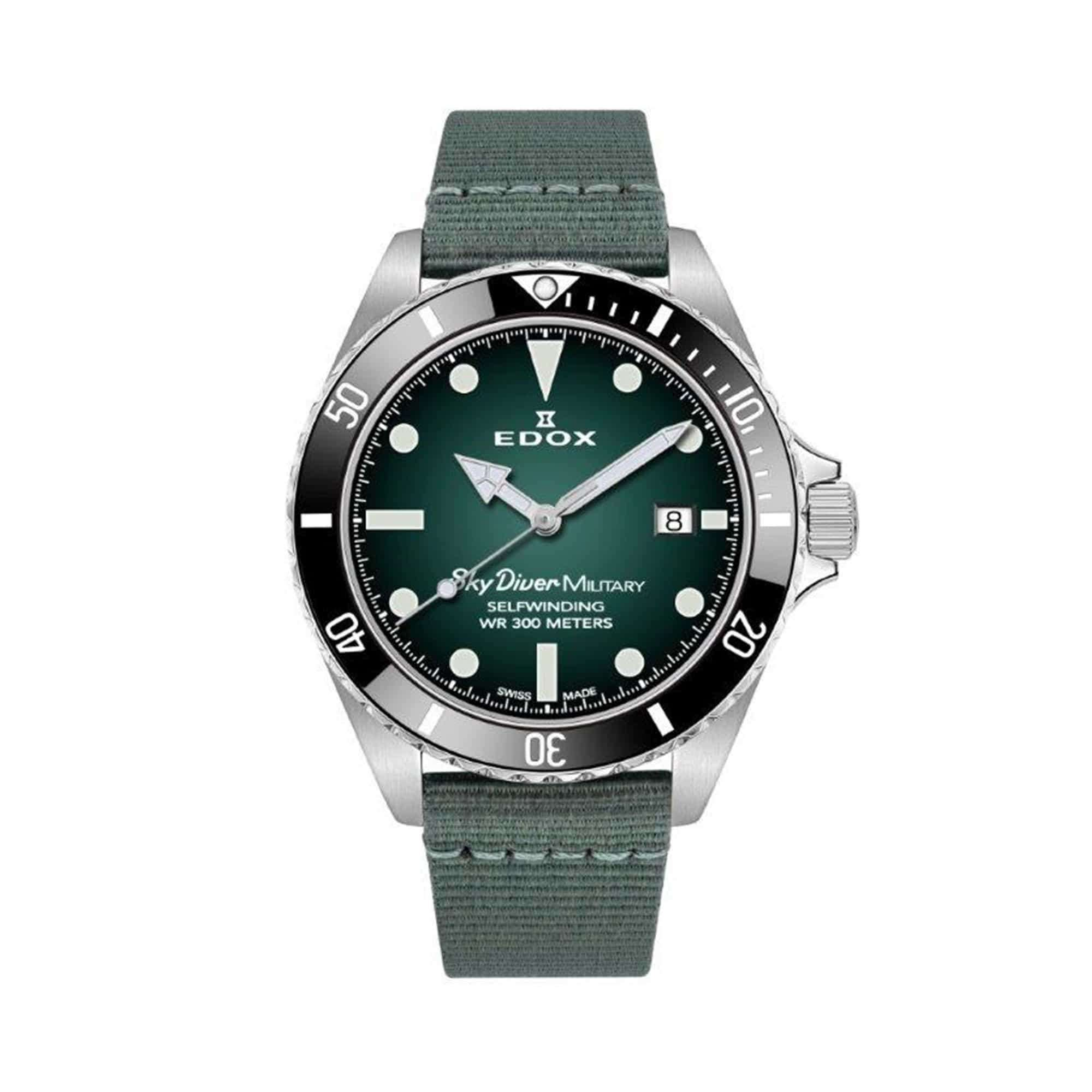 Edox Skydiver Military Stainless Steel Limited Edition 80115-RN-VD – Swiss Time